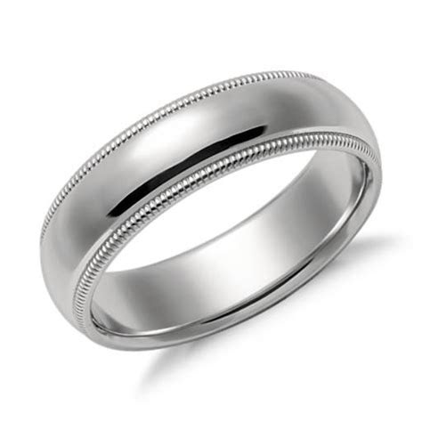 Milgrain Comfort Fit Wedding Ring in Platinum (6mm)   Blue