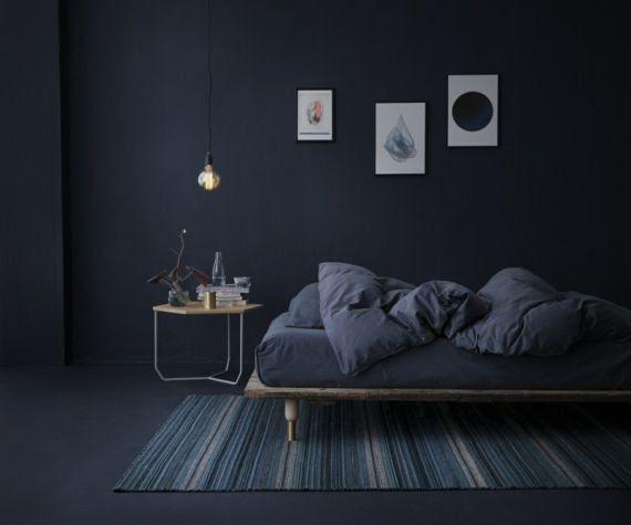 Schlafzimmer Deko Dunkelblau
