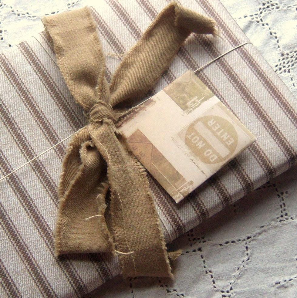 Mini Blank Note cards, Street Signs, Ephemera and Vintage Inspired, Brown, tan
