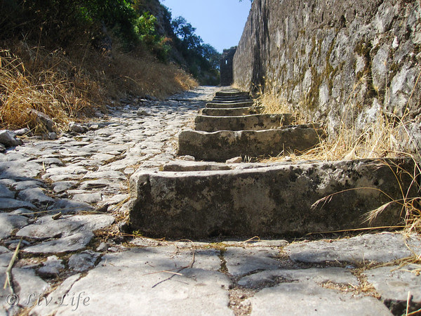 Steps leading to St. John's Fortress in Kotor, Montenegro