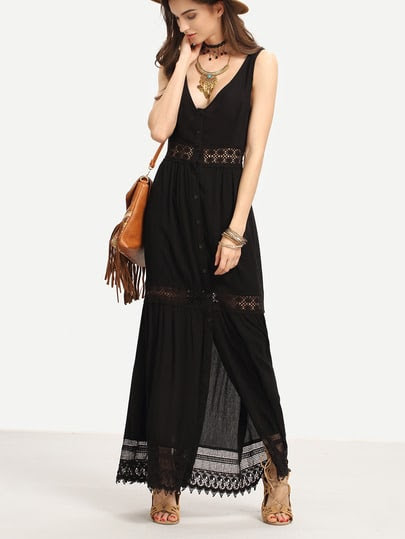 Lace Trimmed Buttoned Front Long Tank Dress pictures
