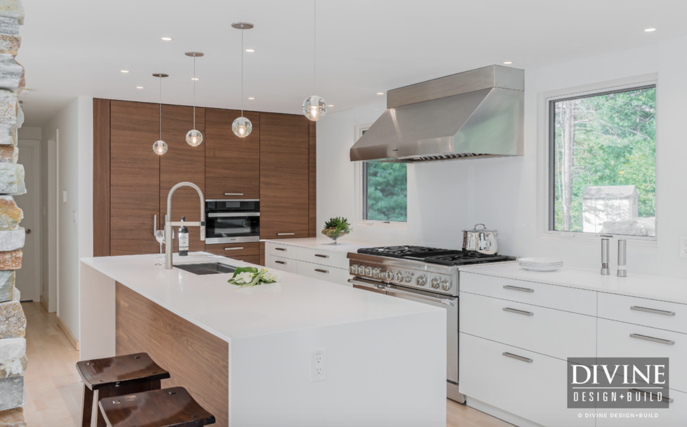 Home Architec Ideas Contemporary White And Wood Kitchen Designs