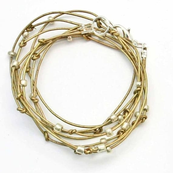 Cameron-Antique Gold Leather Wrap Bracelet