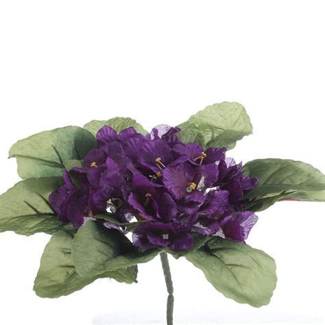 Purple Ruffled Artificial African Violet Bush   Bushes and