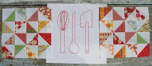 kitchen dishes redwork