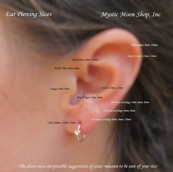 Sizing Charts L Mystic Moon Shop Inc For Nose Piercing Ear