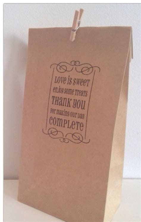 50 x Brown Paper Lolly / Candy Bag   Hand Stamped 'Love is
