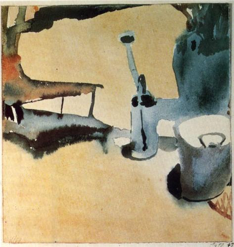 german-expressionists:  Paul Klee, Flower Stand with Watering Can and Bucket, 1910