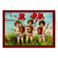 Vintage Valentine Cupids Holding Red Heart Plants Greeting Card