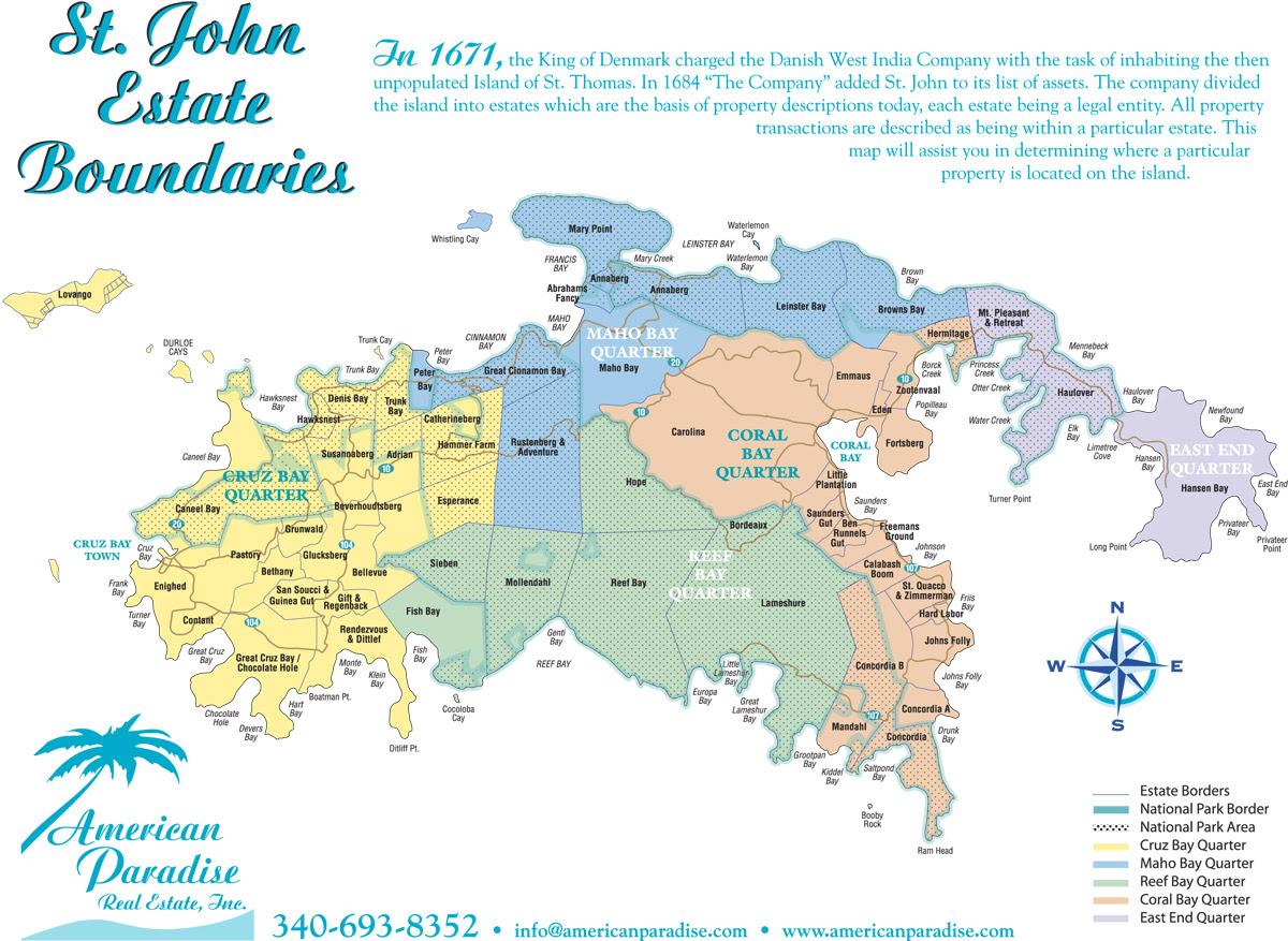St John Map Of Estates On St John Us Virgin Islands Real