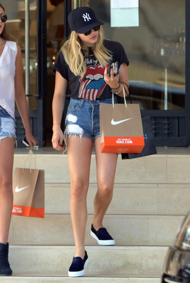 Chloe Moretz in Jeans Shorts -07