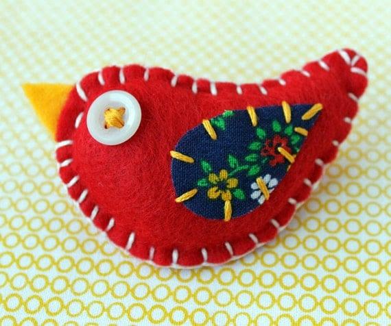 Eco Felt Bird Hair Clip Plush Red Navy