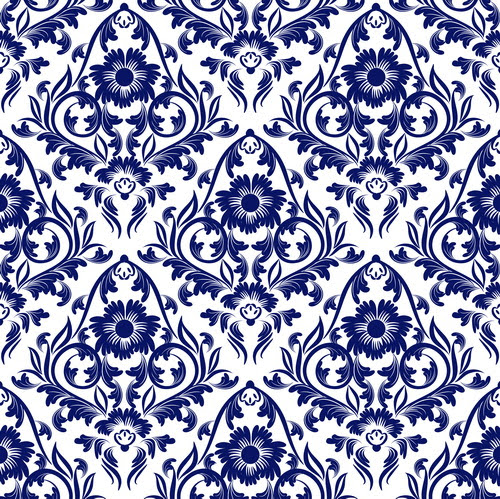 Blue Floral Ornaments Pattern Seamless Vector Free Free Download