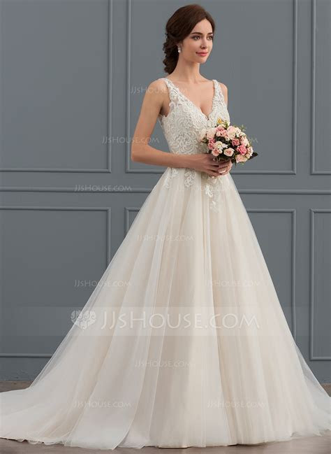 Ball Gown/Princess V neck Court Train Tulle Wedding Dress