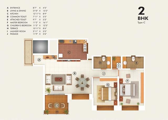 Pudumjee G:Corp Developers' Greens - 2 BHK Flat - C Type - 942 Carpet + 88 Terrace - Rs. 64.18 - 67.30 Lakhs
