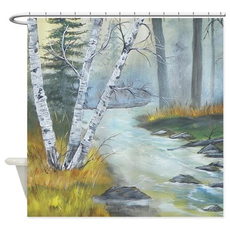 Birch Tree Painting Shower Curtain