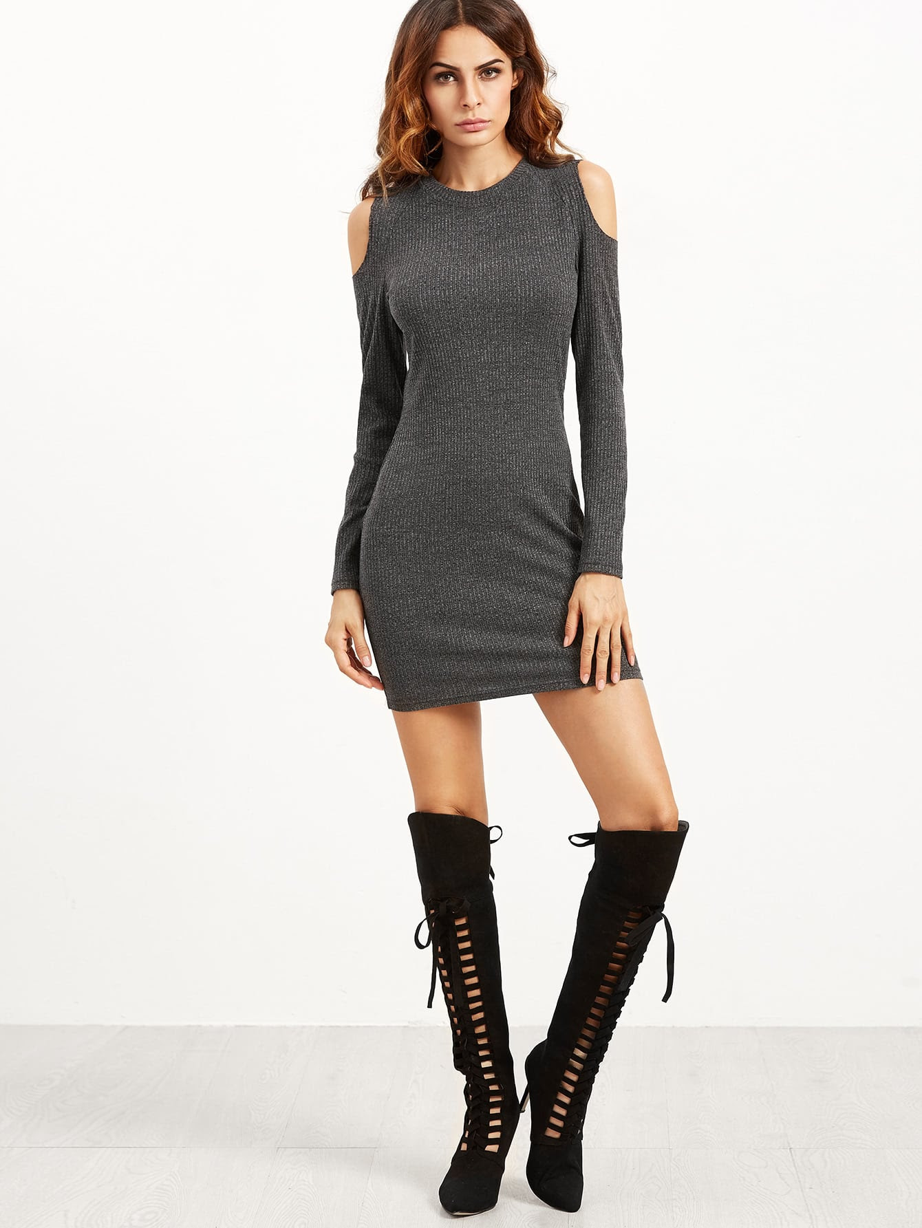Zappos natural fabrics black lace ladder detail frill hem bodycon dress knit tops new
