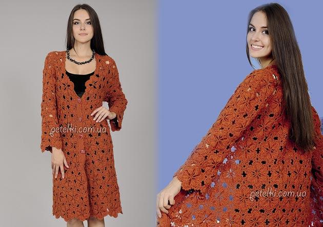Terracotta openwork coat.  Schemes knitting description