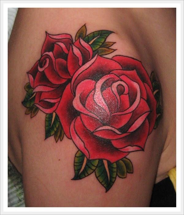 White Rose Tattoo On Right Back Shoulder