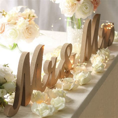 letters solid wooden stand  light wedding