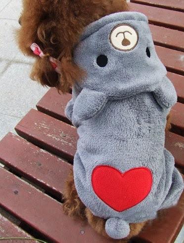 Free shipping!Autumn Winter Pet Clothing,Cute Bear Heart Design Dog Clothes,Coral Fleece Schnauzer Pomeranian Chihuahua Teddy Dog Clothes - Anothersummer
