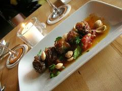 blue cheese-bacon stuffed dates, marcona almonds,warm tomato vinaigrette