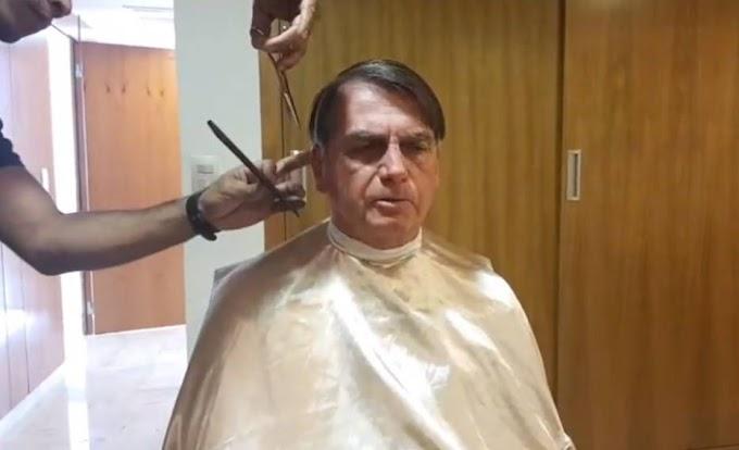 Bolsonaro cancela reunião com ministro francês por falta de tempo e publica 'live' cortando o cabelo