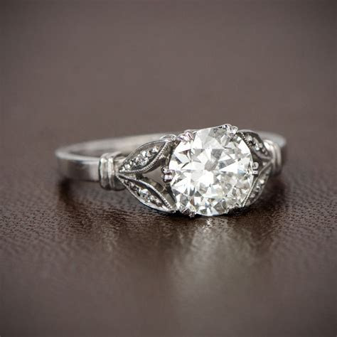 Antique Style Engagement Ring. 1.13ct Old Mine Cut Diamond