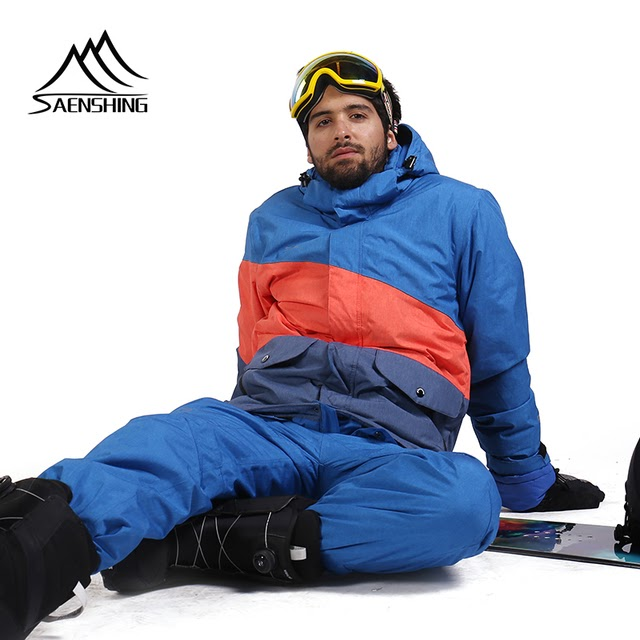SAENSHING Brand Ski Suit Men Mountain Skiing Suit For Men Waterproof Thermal Snowboard Jacket  Ski