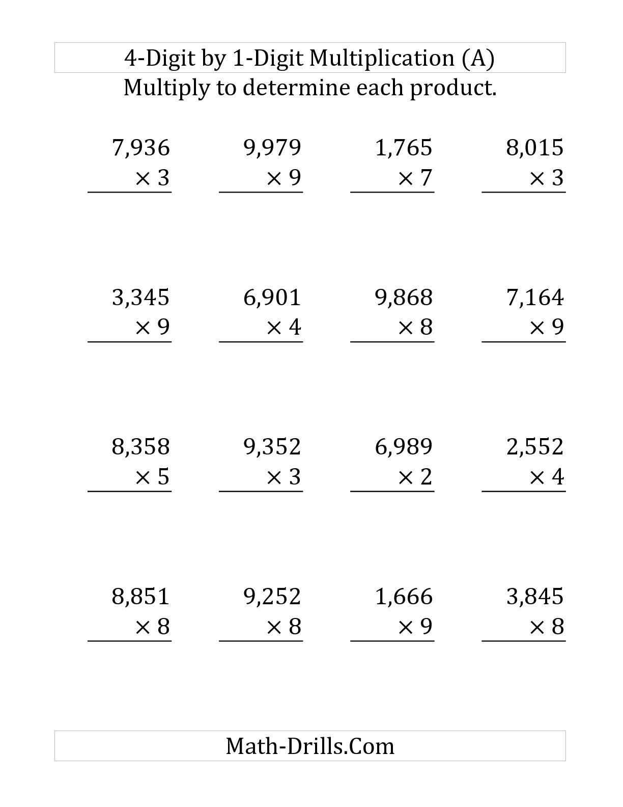 4 digit by 1 digit multiplication worksheets_667524