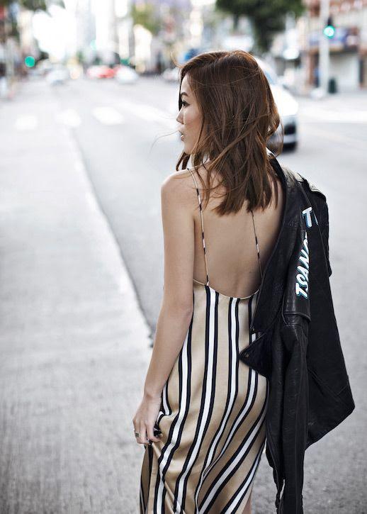 Le Fashion Blog Striped Silk Slip Dress Leather Branded Jacket Blogger Style Via Tsangtastic