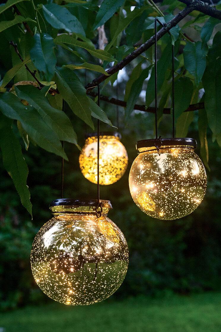 Solar Globe Lights Fairy Dust Ball Gardeners.com