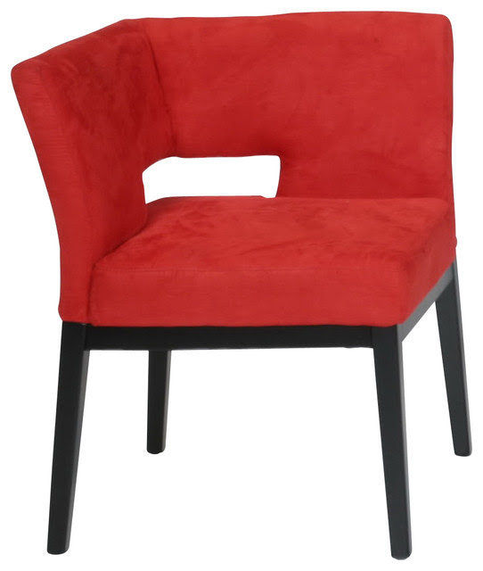 Microfiber Corner Chair, Red  Contemporary  Armchairs