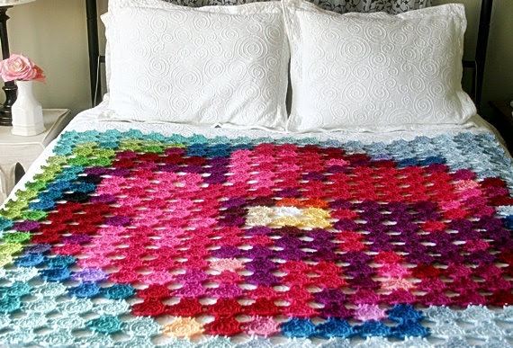 Pointillism Posie Crochet Pattern, Granny Square Flower Afghan Crochet Pattern, Blanket/Wall Hanging Pattern