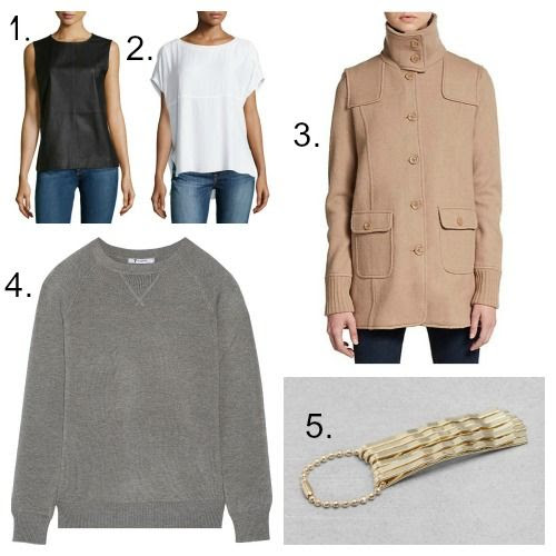 Equipment Leather Blouse - Helmut Lang Lambskin Top - Joie Coat - T by Alexander Wang Sweater - And Other Stories Hairpins
