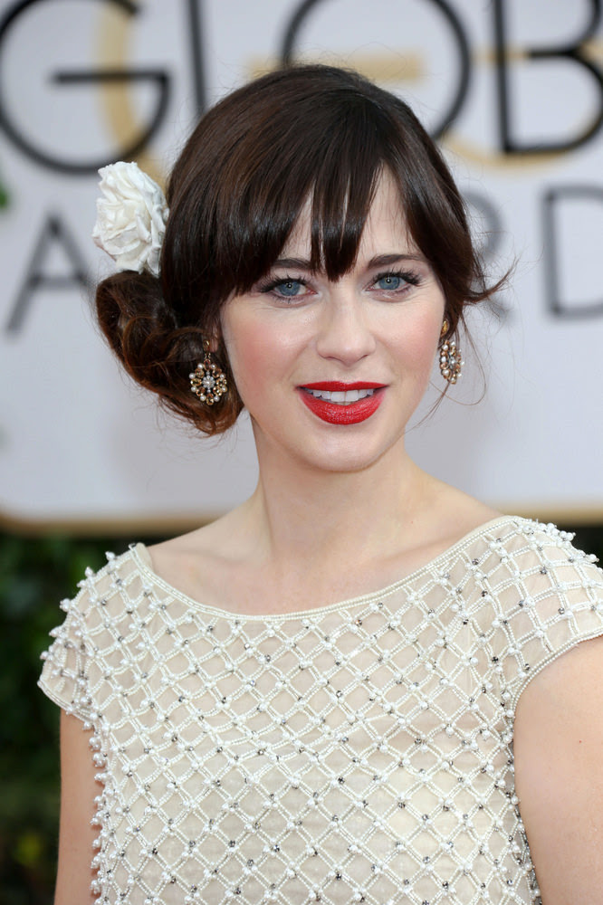 Zooey Deschanel Side Bun with Fringe and Accessory