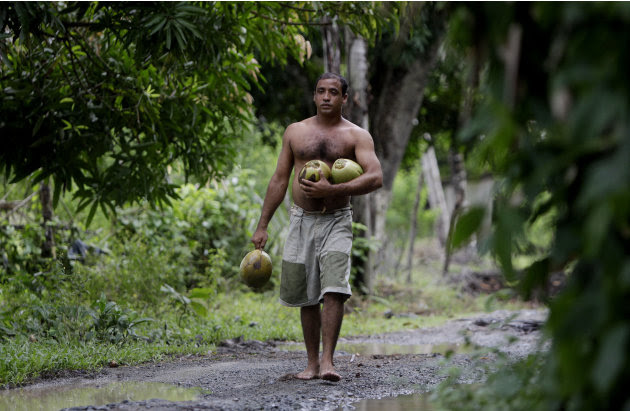 """In this photo taken Wednesday Aug. 24, 2011,  Yoandri Hernandez Garrido, 37, known as """"Twenty-Four,"""" walks with coconuts in Baracoa, Guantanamo province, Cuba. Hernandez is proud of his extra digits a"""
