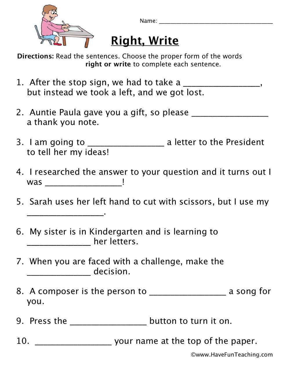 homophones worksheet 6