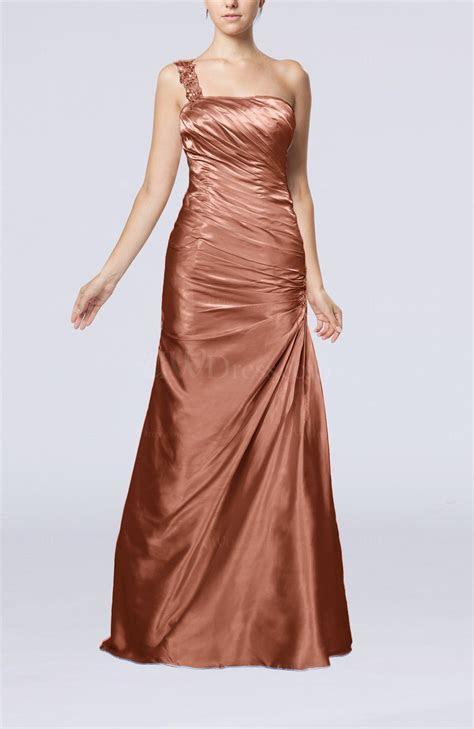 Copper Brown Gorgeous Column Sleeveless Zip up Silk Like
