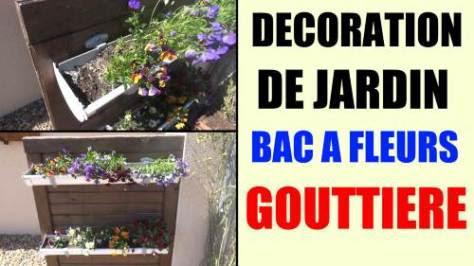 bac à fleurs gouttière - idée décoration de jardin