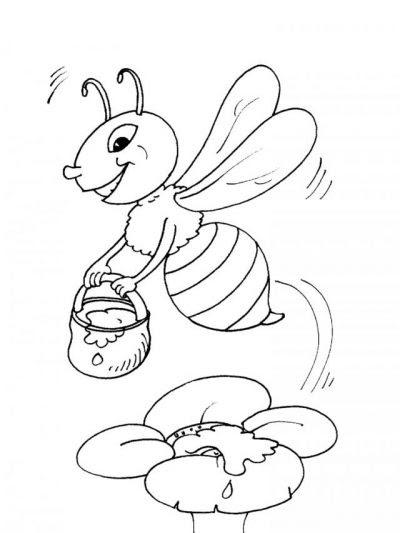 Dibujos Para Imprimir Y Colorear Abeja Con Miel Para Infantil