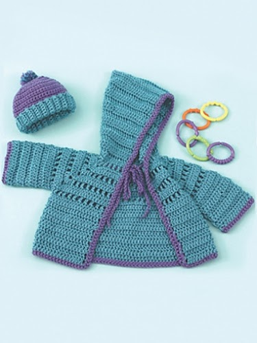 Knitting Pattern Abbreviations M1 : Craft Passions: Baby Hoodie & Hat..# free #knitting pattern link here
