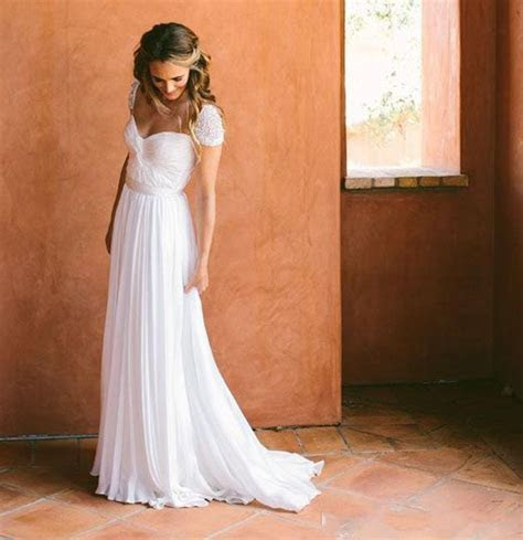2016 White Chiffon Wedding Dresses Cheap Under 100 Bridal
