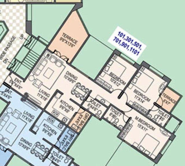 Paranjape Schemes' Gloria Grace E Wing 3 BHK Flat 1060 Carpet + 180 Terrace For Rs. 75.78 Lakhs