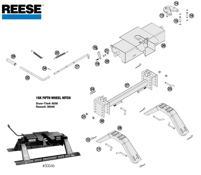 reese 5th wheel hitch parts diagram