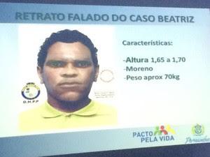 Retrato falado do suspeito de matar garota Beatriz, em Petrolina (Foto: Thays Estarque/G1)