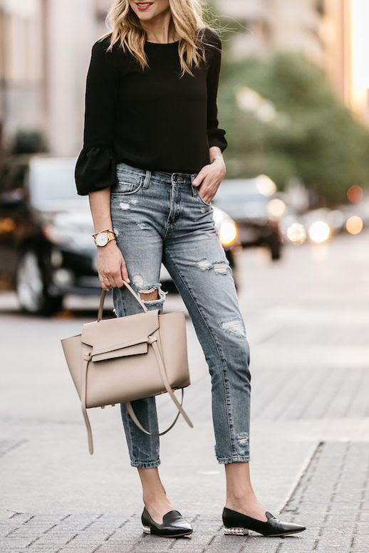 Dallas Style Fall Outfit Idea Bell Sleeve Top Distressed Ripped Jeans Nicholas Kirkwood Pearl Loafers Taupe Tan Celine Tote Bag Fashion Jackson Blogger Le Fashion Blog