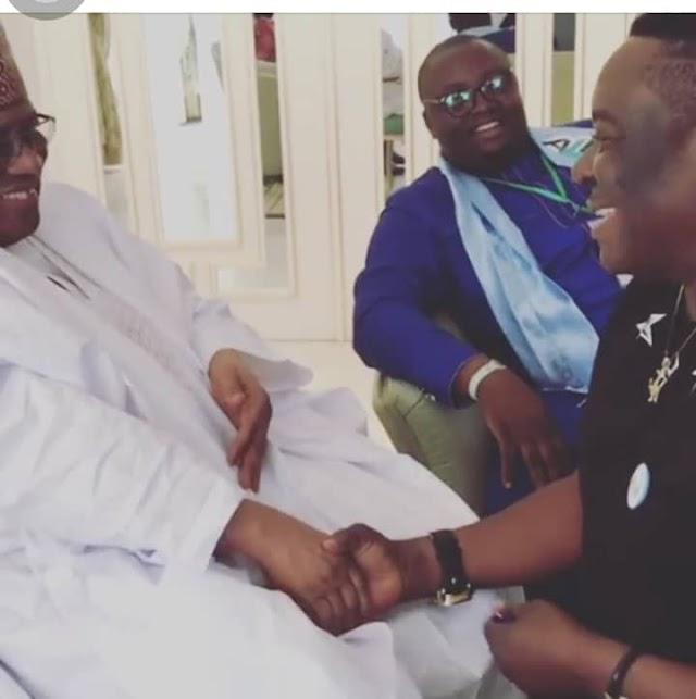 Mr Ibu Kneels Down As Babangida Prays For Him On His 57th Birthday