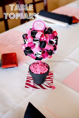 Diy Table Topiary Hot Pink Amp Zebra Super Cute Party