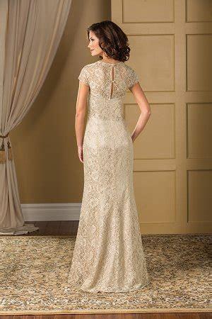 K178018 Long Queen Anne Neckline Lace MOB Dress